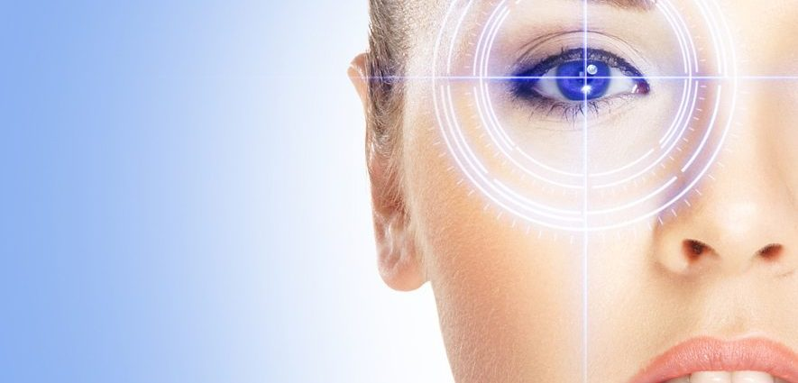 close up illustration of a woman's face with her eye targeted for laser eye treatment