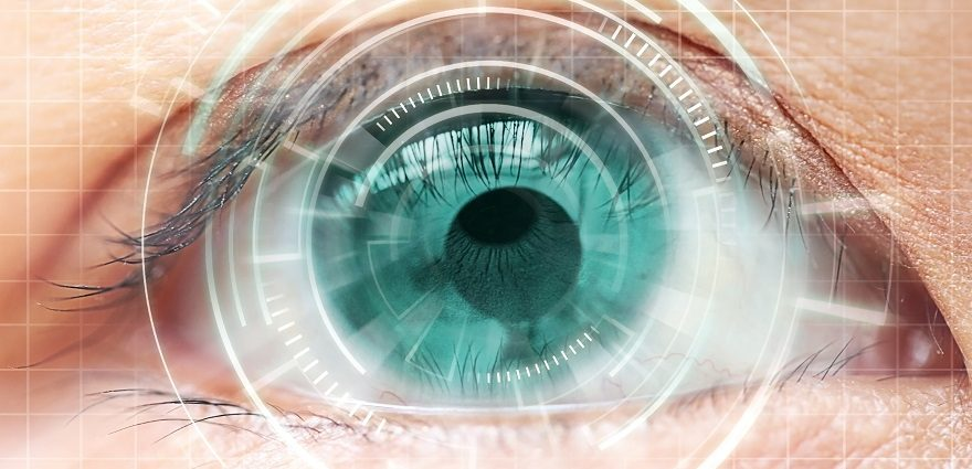 concept image of an eye close up being targeted for analysis