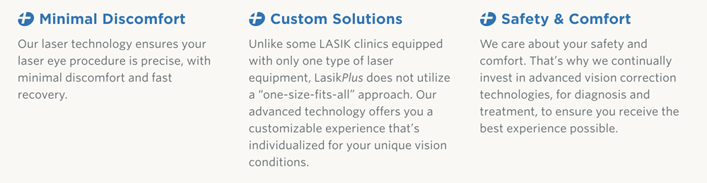 LasikPlus promo highlighting the benefits of treatment with their surgeons